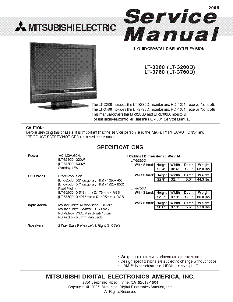 Mitsubishi vs451b ve451b service manual download schematics eeprom mitsubishi lt 3280 fandeluxe Choice Image