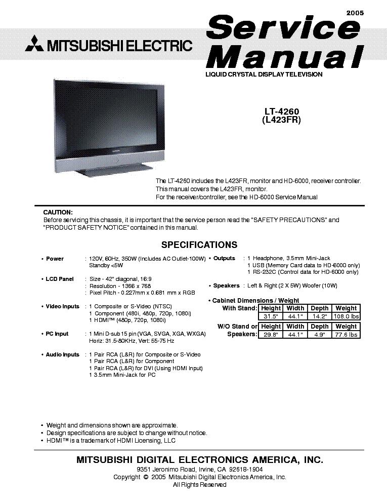 Mitsubishi vs451b ve451b service manual download schematics eeprom mitsubishi fandeluxe Choice Image