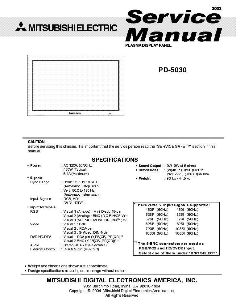 Сервисная инструкция Mitsubishi PD-5050 - Manual-Shop.ru.