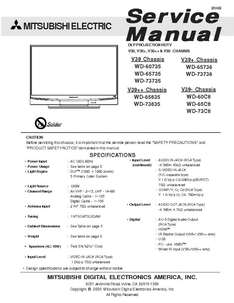 Mitsubishi Wd 65835 Manual