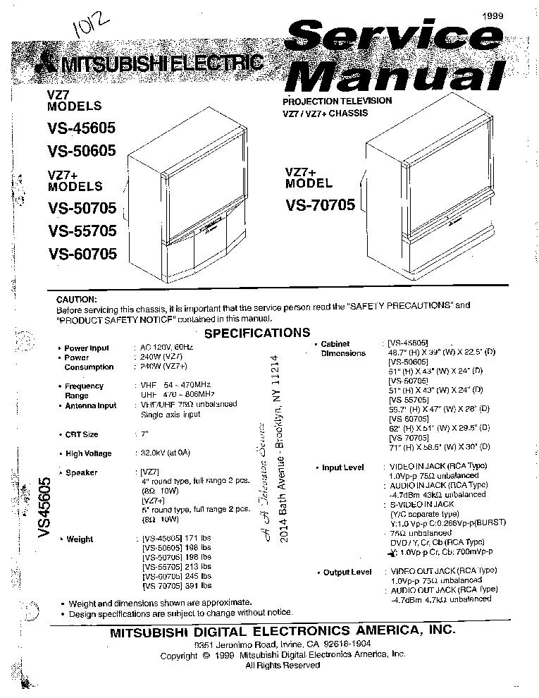 mitsubishi vs 45605 50605 50705 55705 60705 70705 chassis vz7 rh elektrotanya com service manual for mitsubishi projection tv mitsubishi tv service manual