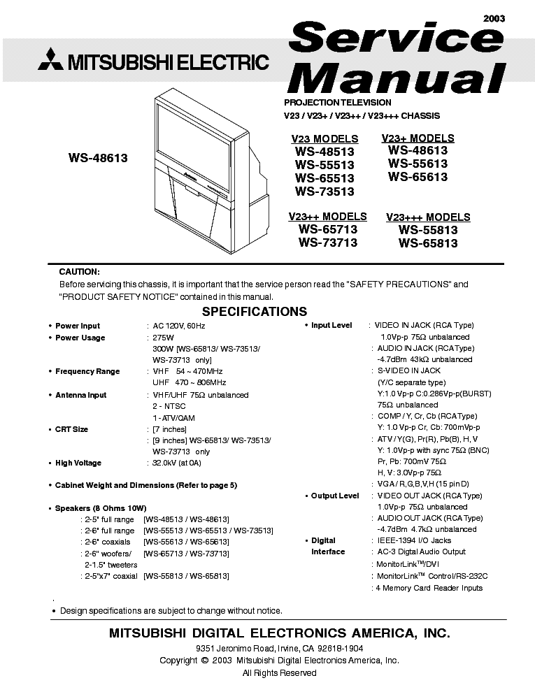 mitsubishi ws 65315 service manual car image ideas rh car shoesfortop com Mitsubishi WS 55315 HDMI Mitsubishi WS 55315 Problems
