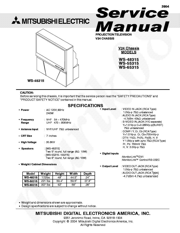 mitsubishi ws 55315 chassis v24 service manual download schematics rh elektrotanya com Mitsubishi WS 55315 HDMI 55 Mitsubishi Rear Projection TV