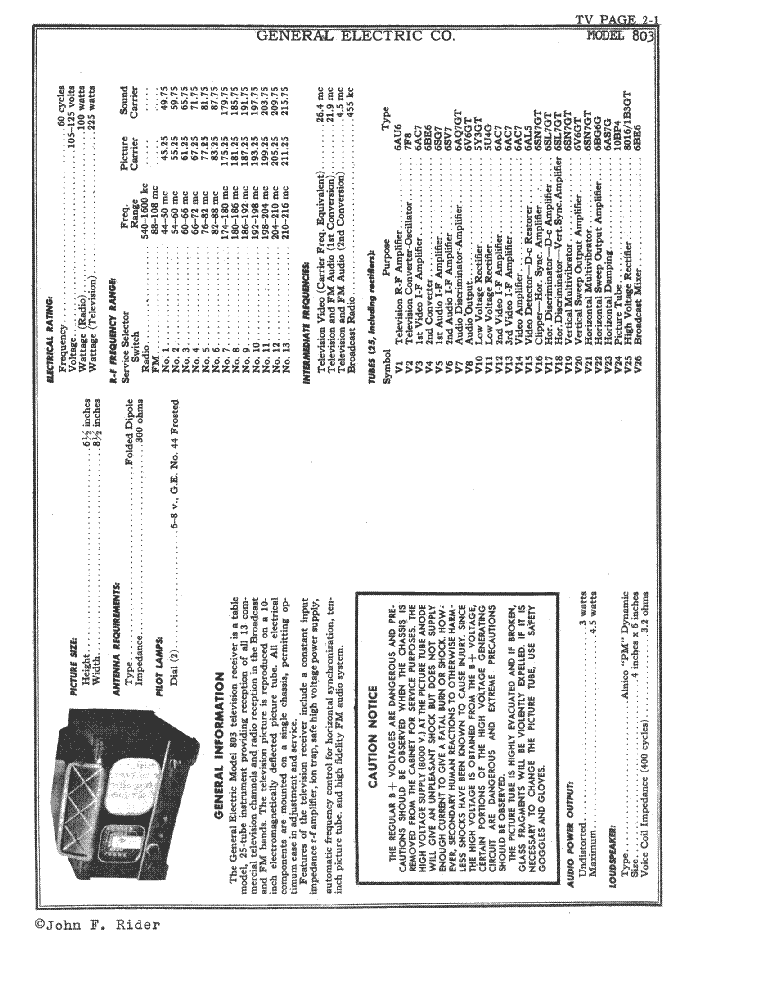GENERAL ELECTRIC 803 service manual (1st page)