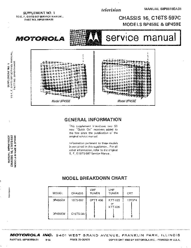 MOTOROLA BP-458E BP-459E CHASSIS 16 C16TS-597C PORTABLE TUBE