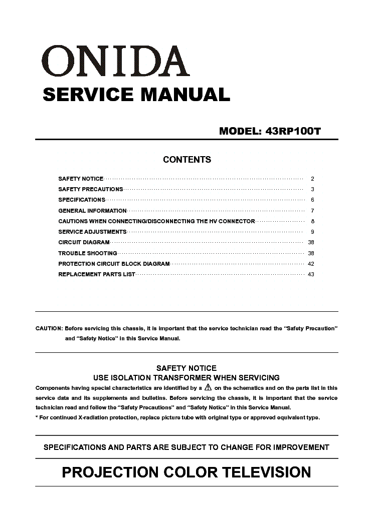 onida 43rp100t service manual download schematics eeprom repair rh elektrotanya com Projection Television Brand Projection Television Brand