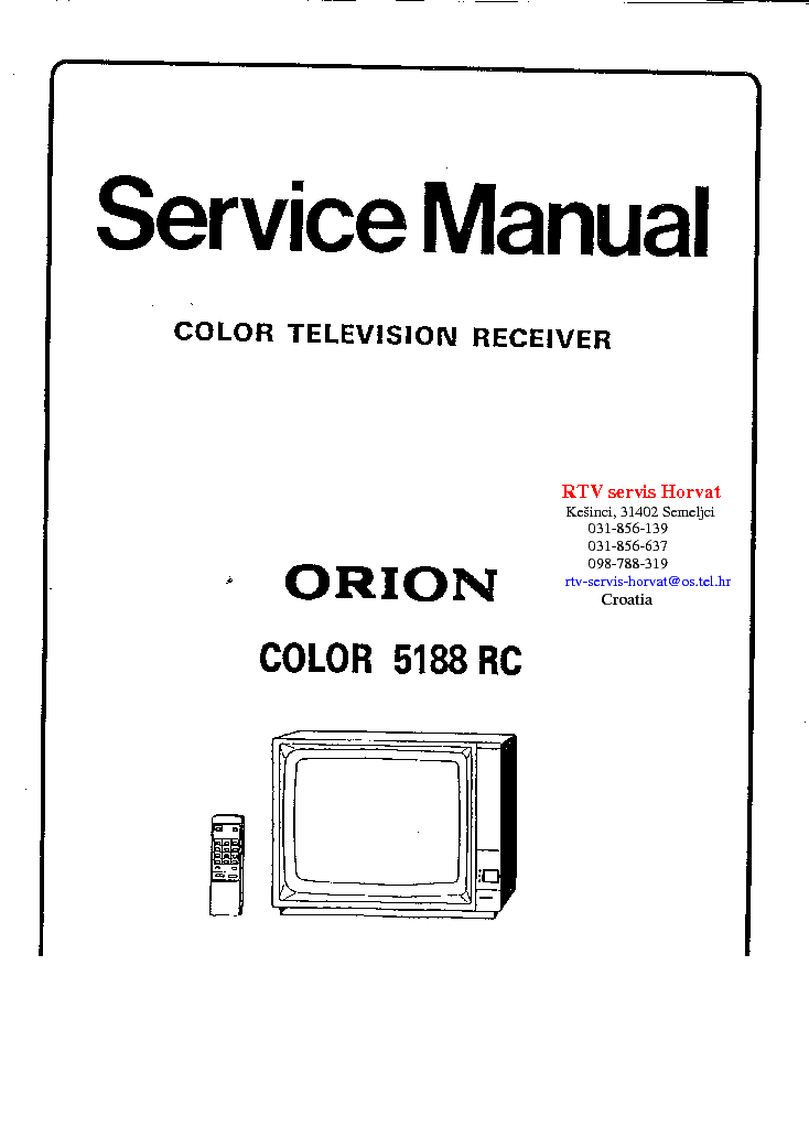 Схема телевизора Orion COLOR 5188 RC.