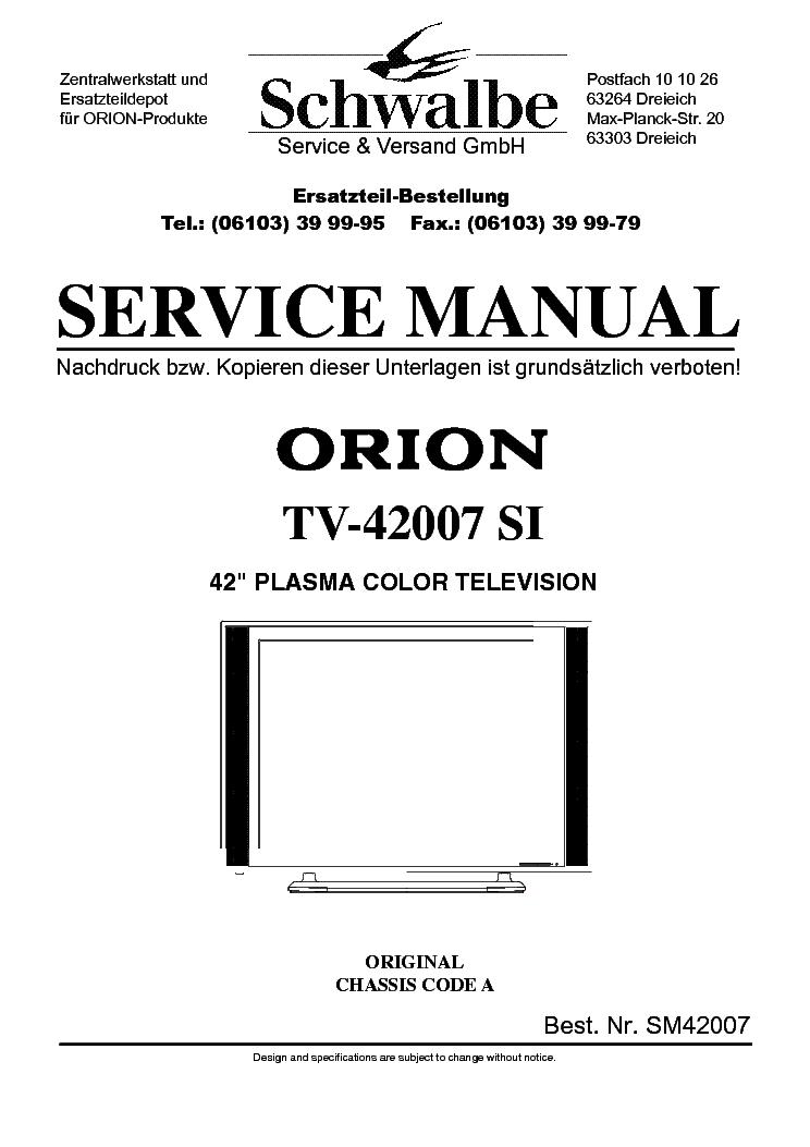 orion tv 42007si service manual download schematics eeprom repair rh elektrotanya com Orion VCR Orion Electronics Logo
