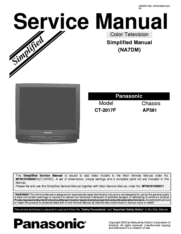 panasonic ap391 chassis ct2017f tv sm service manual download rh elektrotanya com panasonic tv manual tc-p50x5 panasonic tv manuals download