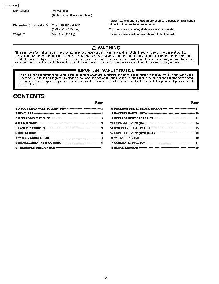 panasonic cq-vd7001 tv dvd combo service manual (2nd page)
