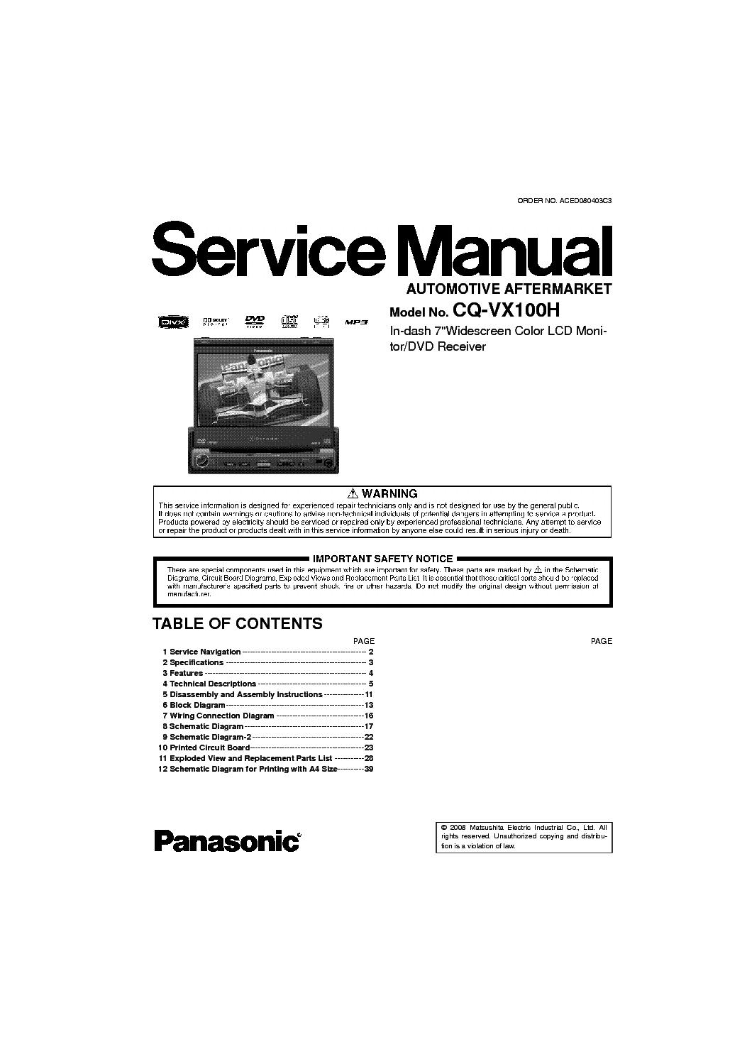 Panasonic Cq C7301u Wiring Diagram C7103u Trusted Harness C1101u Installation Vd6503u Wire