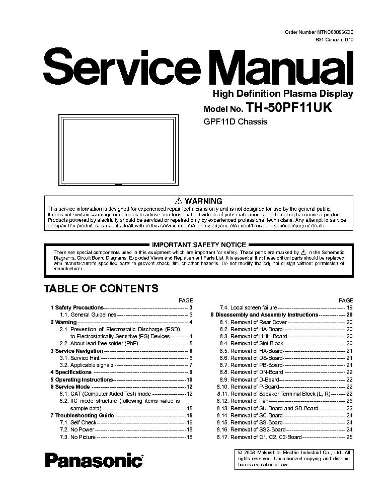 panasonic gpf11d chassis th 50pf11uk plasma tv sm service Panasonic TV Manual Panasonic Owner's Manual
