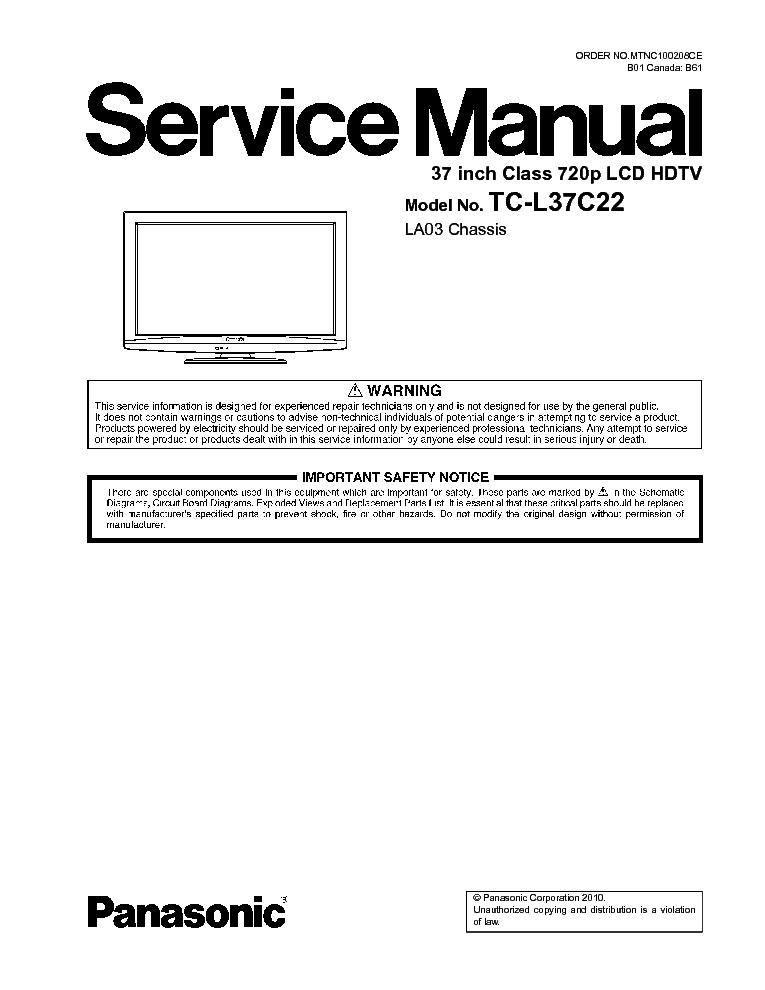 panasonic th 37px60b th 42px60b service manual repair guide