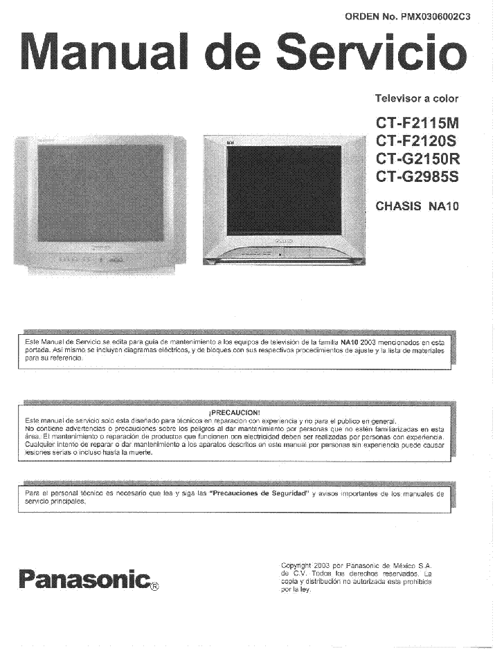 PANASONIC NA10 CHASSIS