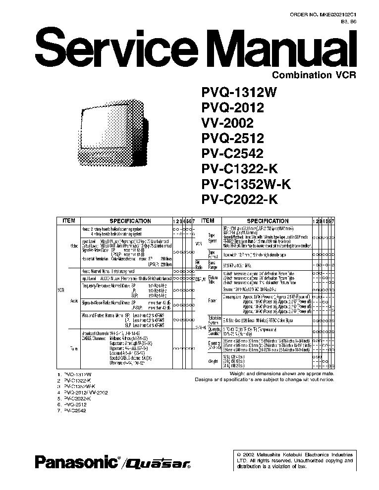 Panasonic Pvq1312w Tv Vcr Sm Service Manual Download