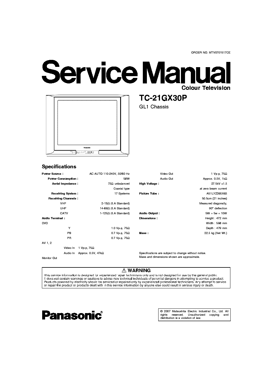 PANASONIC    TC21GX30P CHASSIS GL1 SM Service Manual download     schematics     eeprom  repair info for