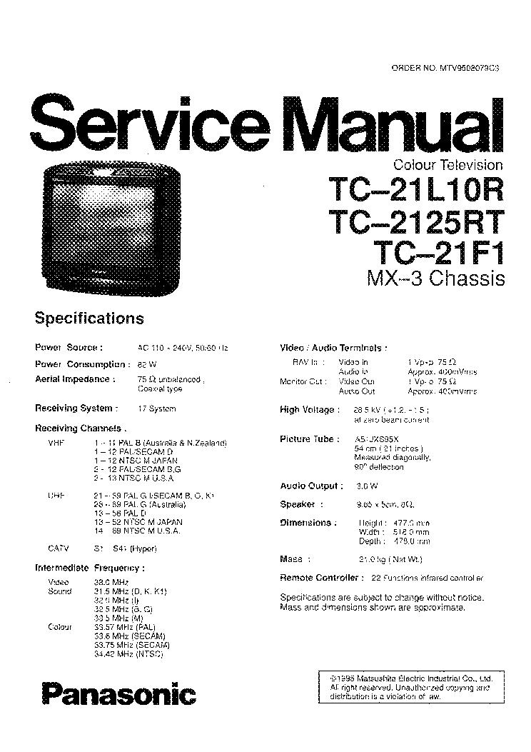 Инструкция panasonic tc 21l10r2