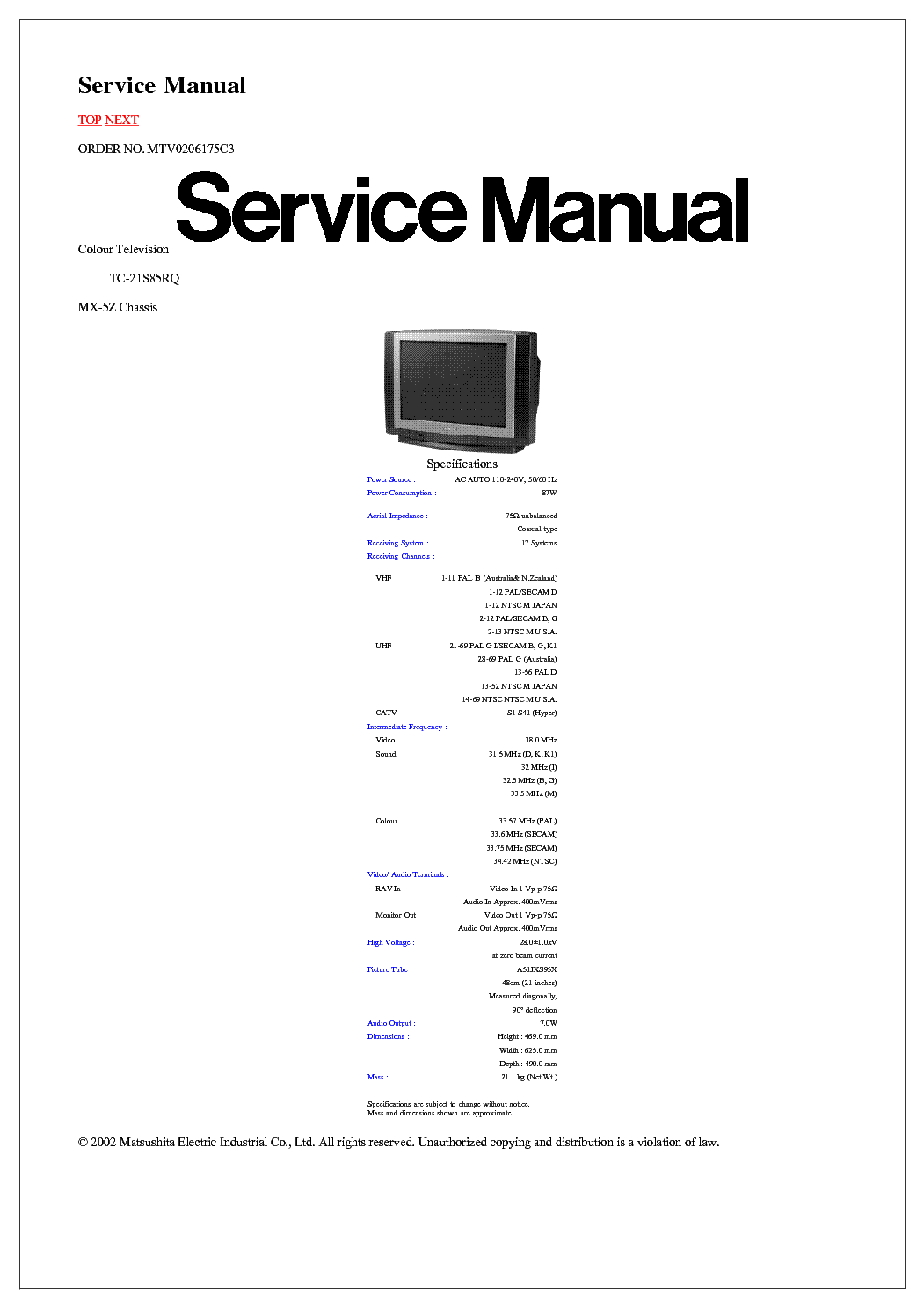 ... Array - panasonic tc 21s85rq chassis mx 5z crt tv sm service manual  download rh elektrotanya