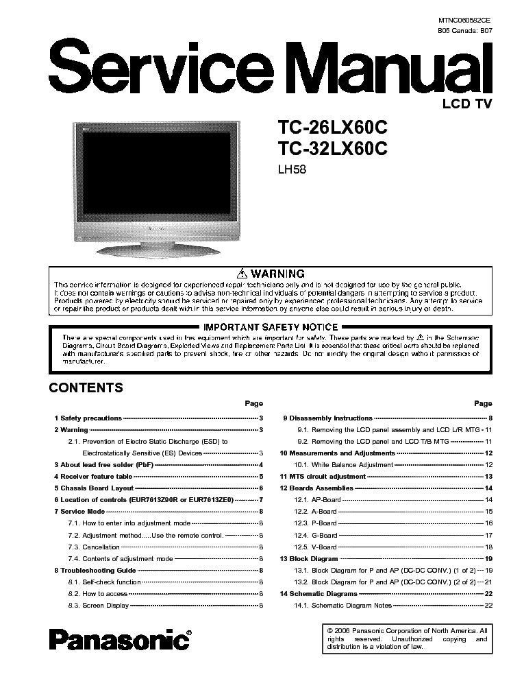 panasonic tc 26lx60c tc 32lx60c lcd tv sm service manual download rh elektrotanya com Panasonic Viera TV Stand Panasonic Plasma TV