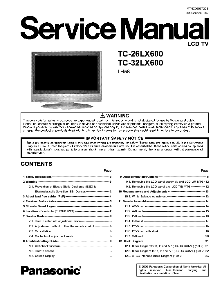 panasonic tc 32lx600 service manual download schematics. Black Bedroom Furniture Sets. Home Design Ideas