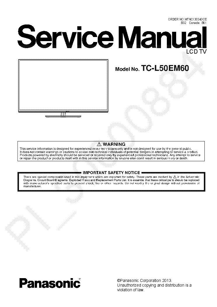 PANASONIC TC-L50EM60 service manual (1st page)