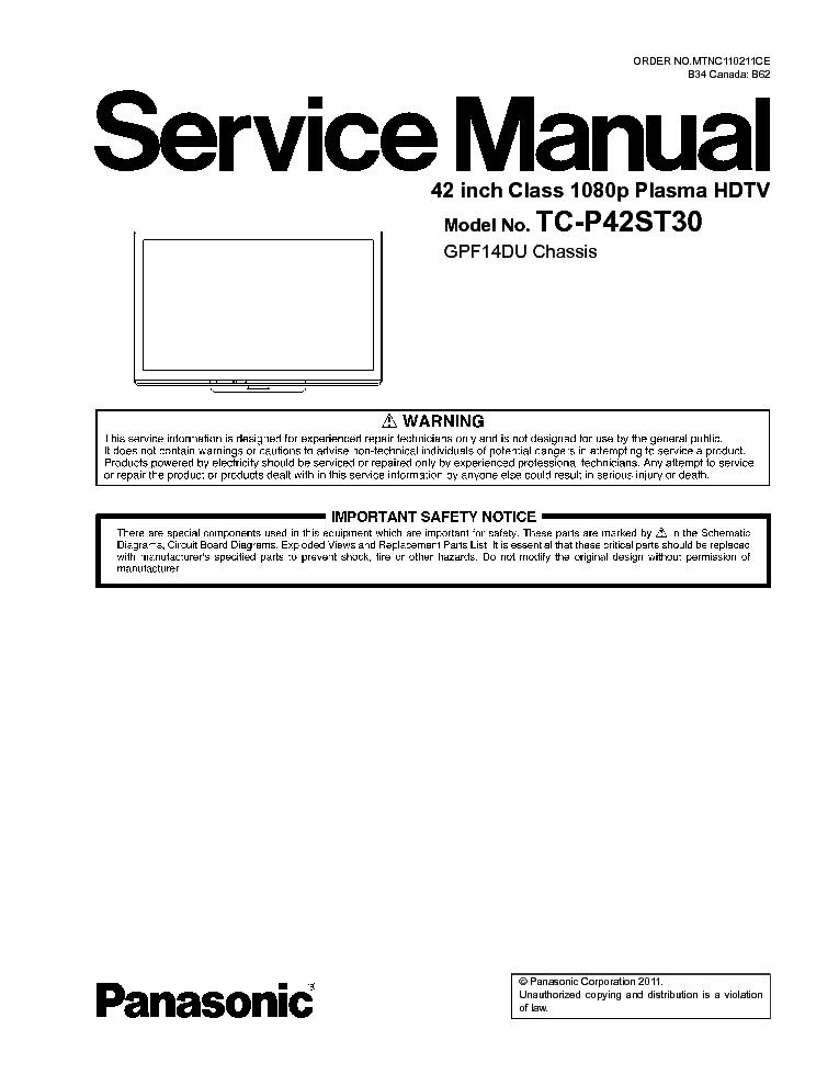 panasonic tc p42st30 chassis gpf14du sm service manual download rh elektrotanya com