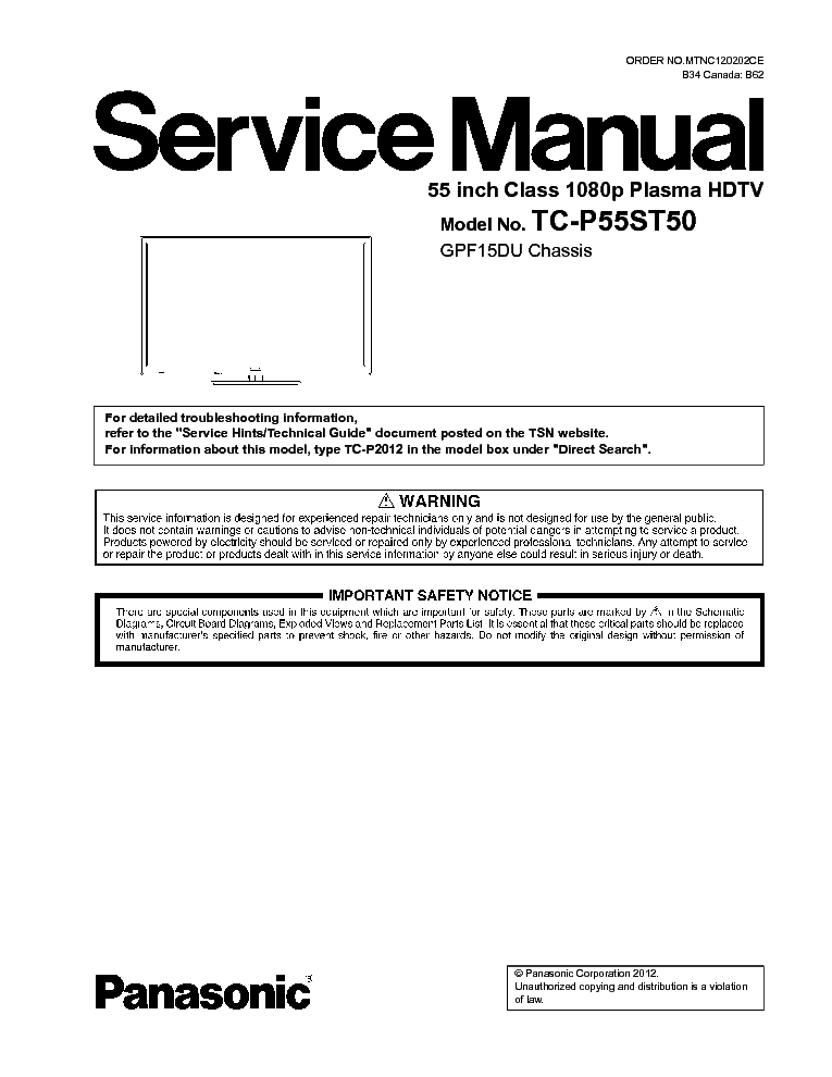 Panasonic Tc P55st50 Chassis Gpf15du Service Manual border=