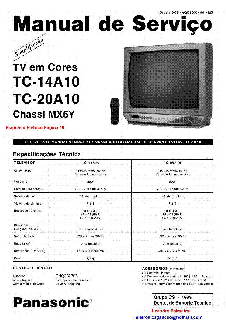 panasonic tc 14a10 20a10 chassis mx5y service manual. Black Bedroom Furniture Sets. Home Design Ideas