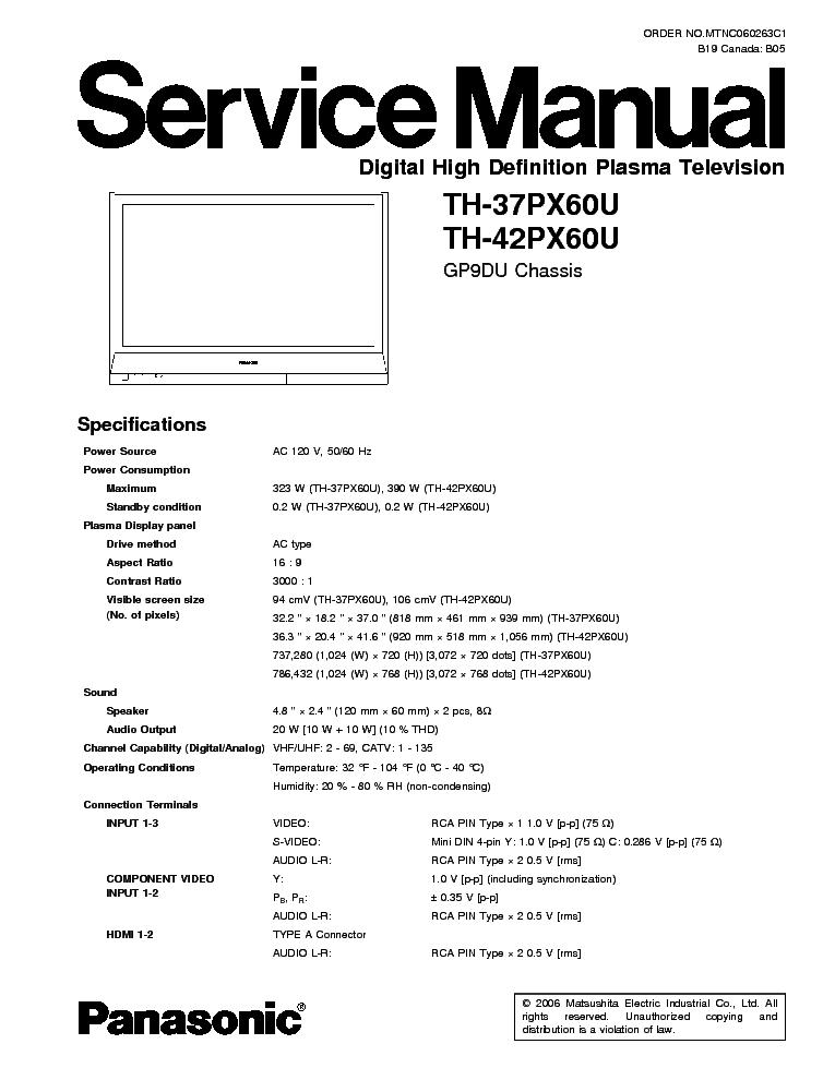 panasonic th-37px60u th-42px60u ch gp9du service manual (1st page)