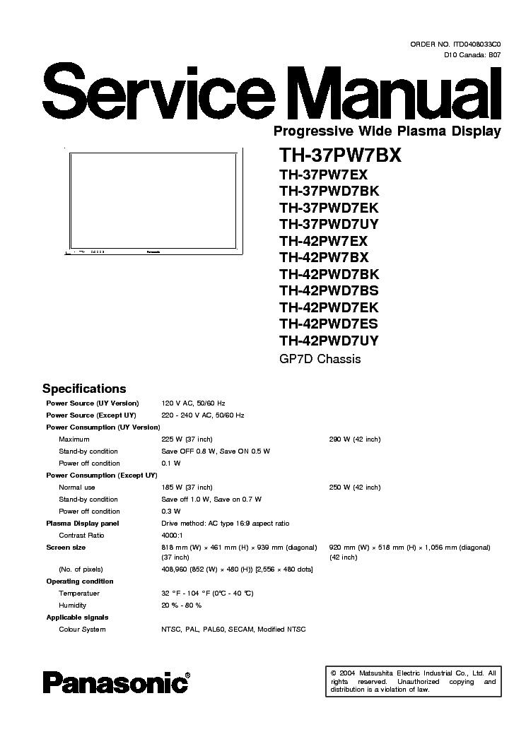 PANASONIC TH-42PWD7 Service Manual download, schematics, eeprom