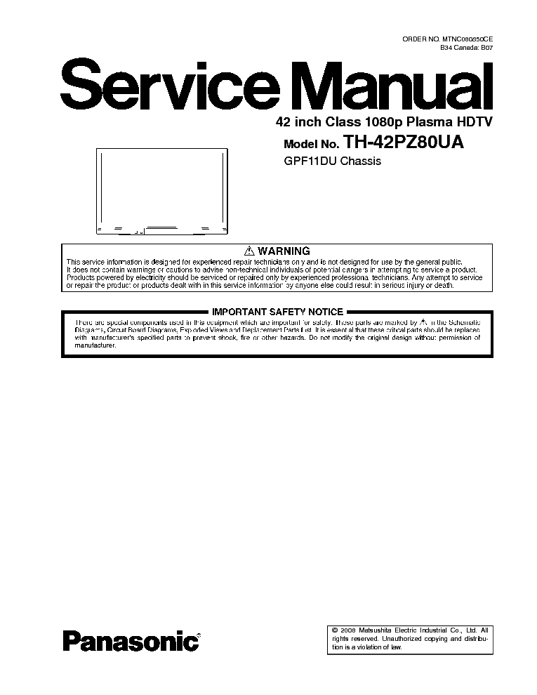 panasonic th 42pz85u service manual