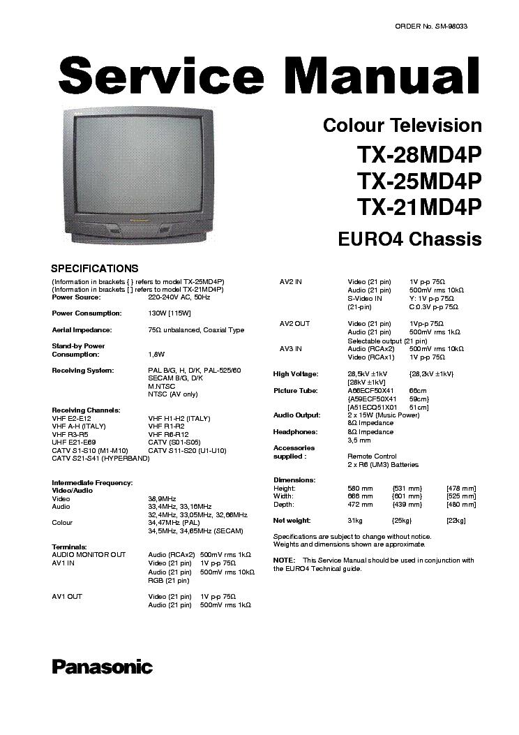 Схема телевизора Panasonic TX 28MK1P M TX 21MK1P M EUR.