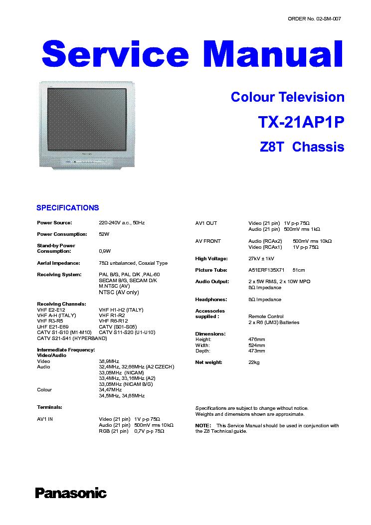 Panasonic Ap395 Chassis Ct2022hbf Tv Sm Service Manual border=