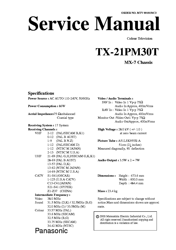 PANASONIC TX-21PM30T CHASSIS