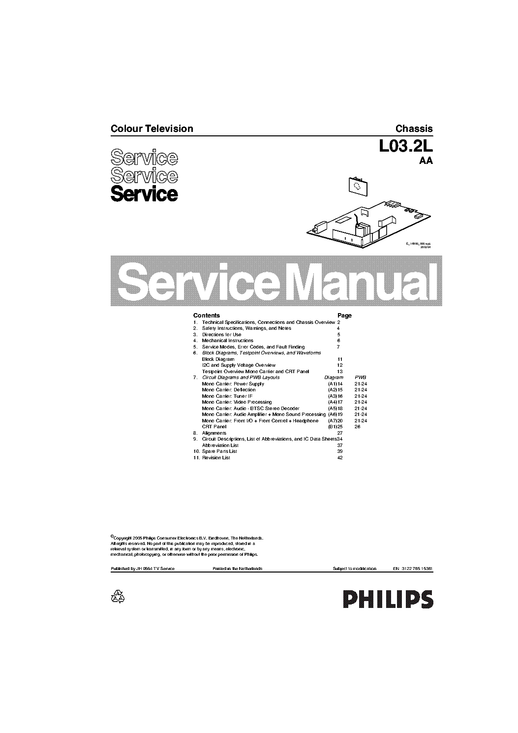 Philips 14pt3005 55 Chassis L03 2laa Sm Service Manual