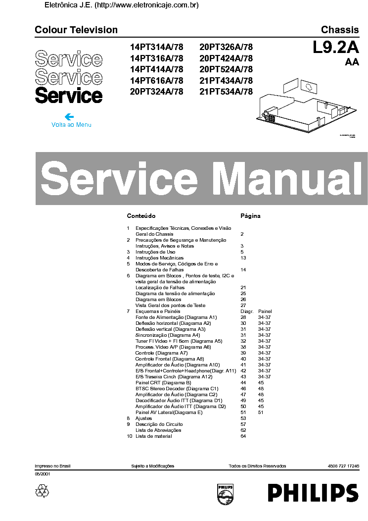PHILIPS 14PT314A 20PT326 20PT424 CHASSIS L9.2A-AA SM service manual