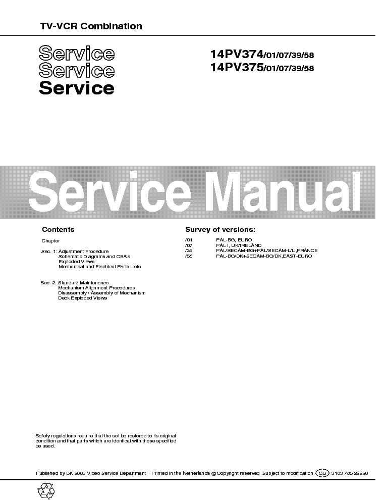PHILIPS 14PV374-14PV375 TV-VCR COMBINATION SM service manual (1st page)