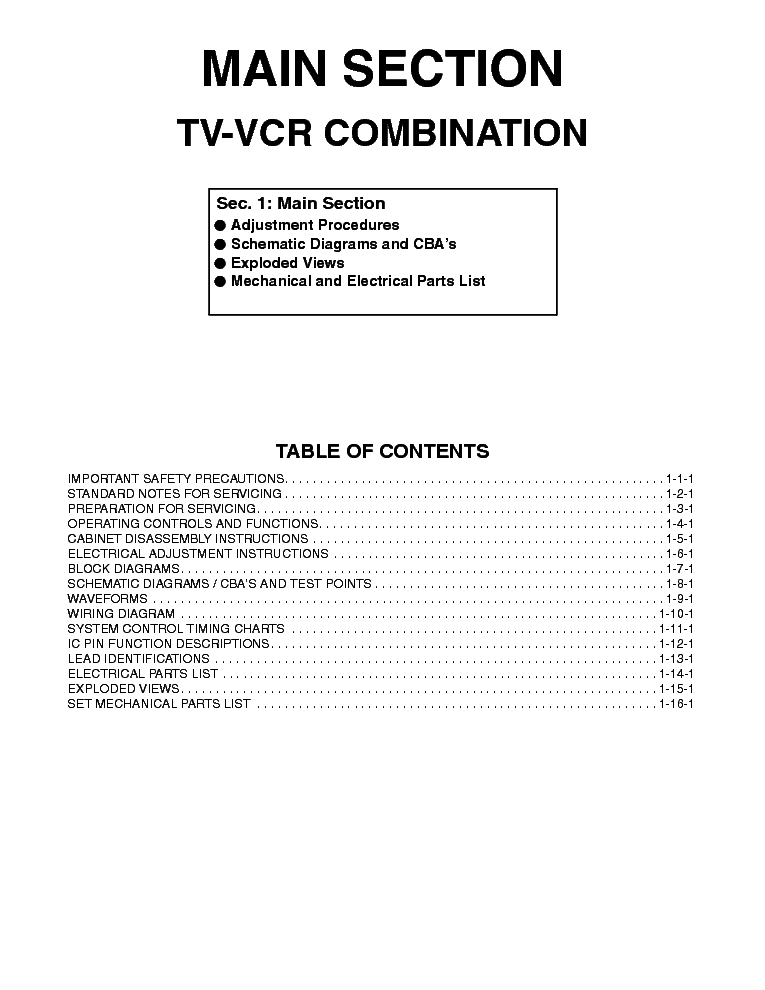 PHILIPS 14PV374-14PV375 TV-VCR COMBINATION SM service manual (2nd page)