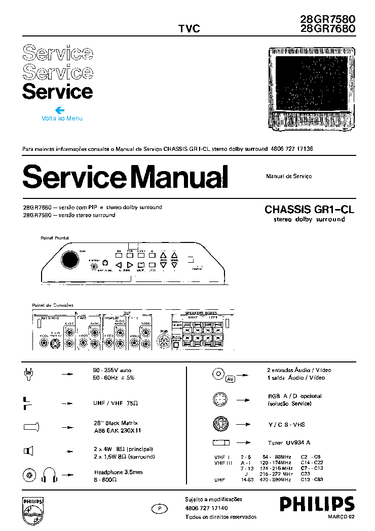 PHILIPS 28GR7580,7680 CH GR1-CL service manual