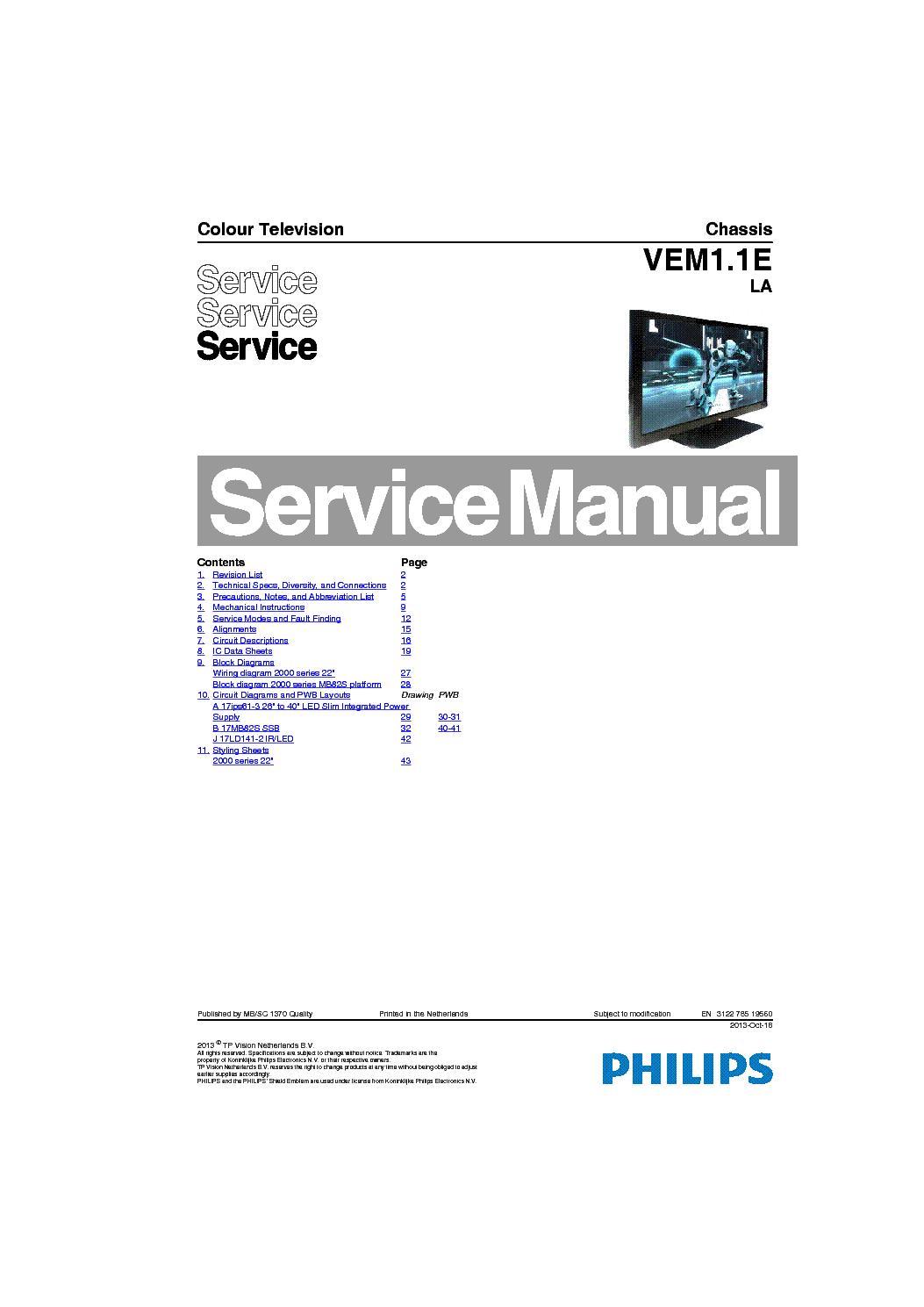 PHILIPS 28PFL2908H-12 CHASSIS VEM1 1ELA 17MB82S Service
