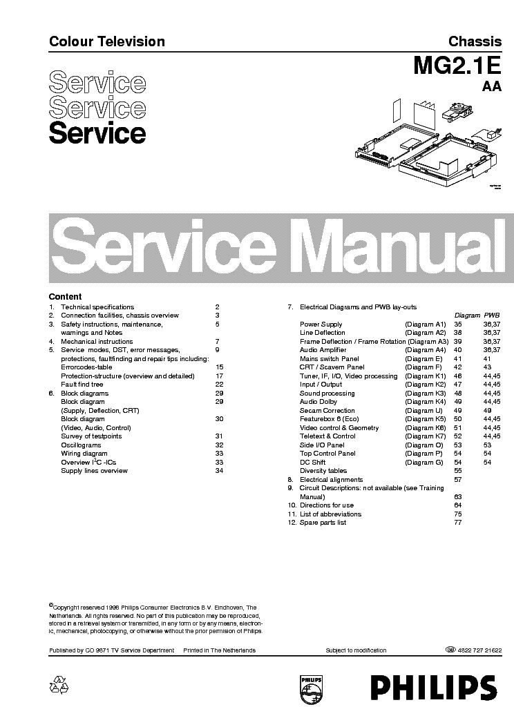 PHILIPS 28PT8304 32PW8505 CHASSIS MG2 1E AA service manual (1st page)