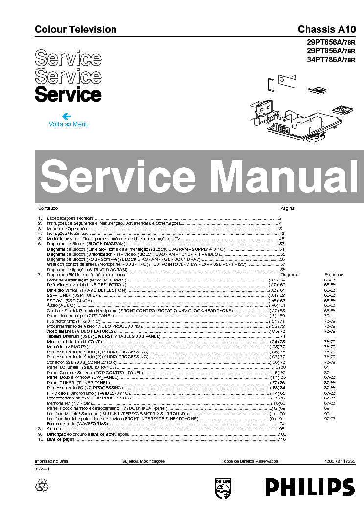PHILIPS 29PT656A-78R 29PT856A-78R 34PT786A-78R CHASSIS A10 SM service manual (1st page)