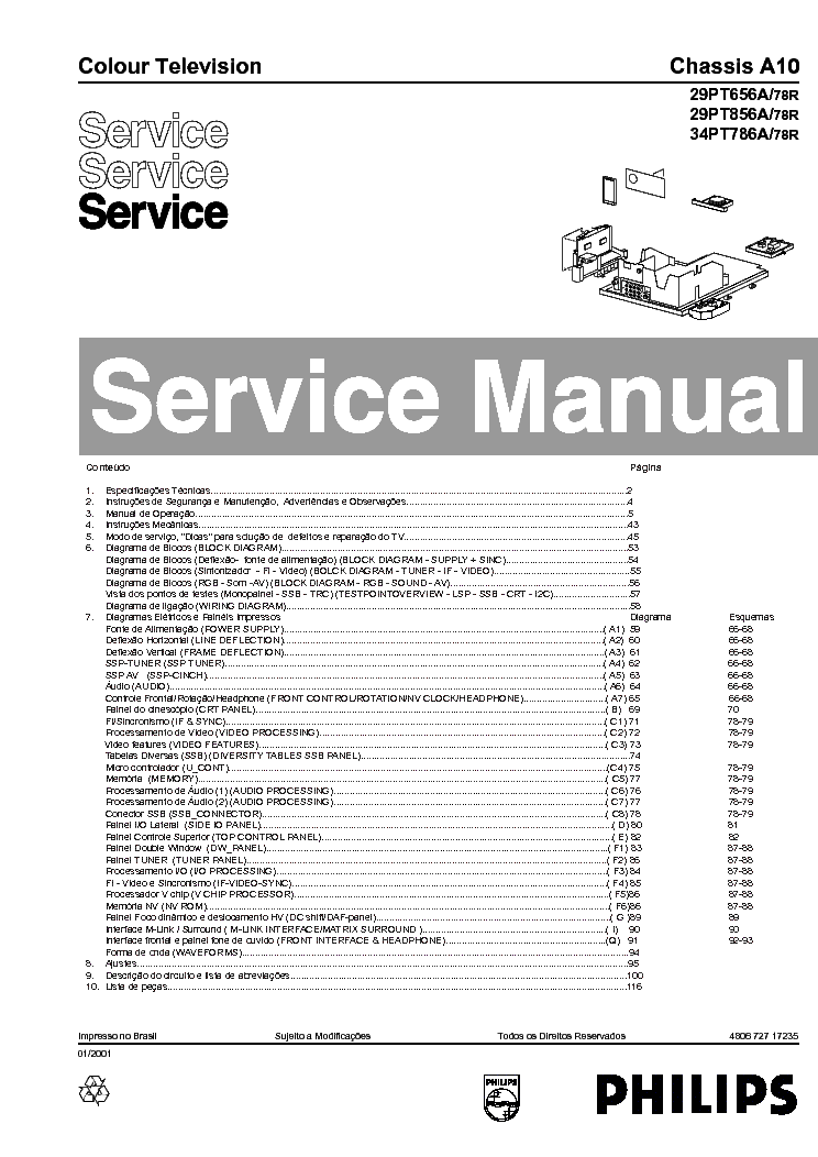 PHILIPS 29PT656A 29PT856A 32PW878 34PT786A CHASSIS A10 service manual (1st page)