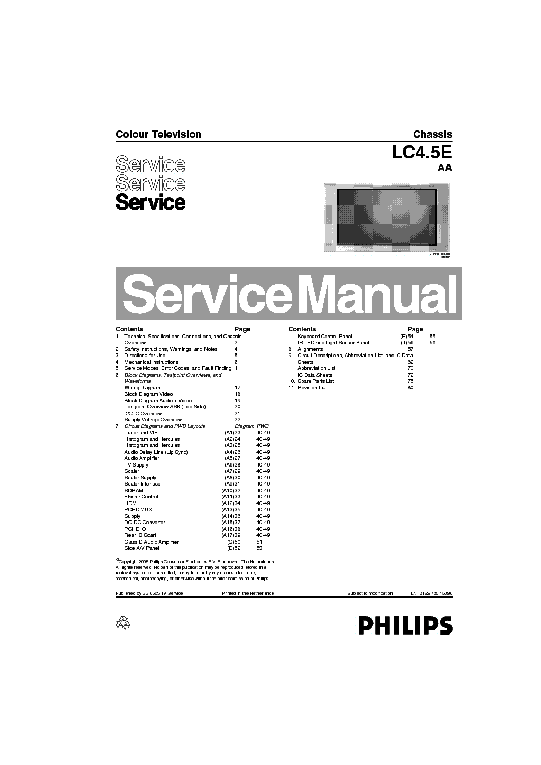 PHILIPS 32PF4320 10 CHASSIS LC4.5E AA service manual (1st page)