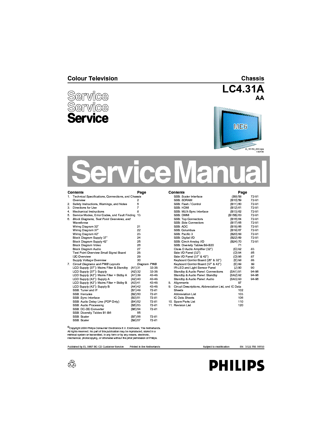 PHILIPS 32PF7321 37PF7321 42PF7421 79 93 98 CHASSIS LC4.31A AA service manual (1st page)