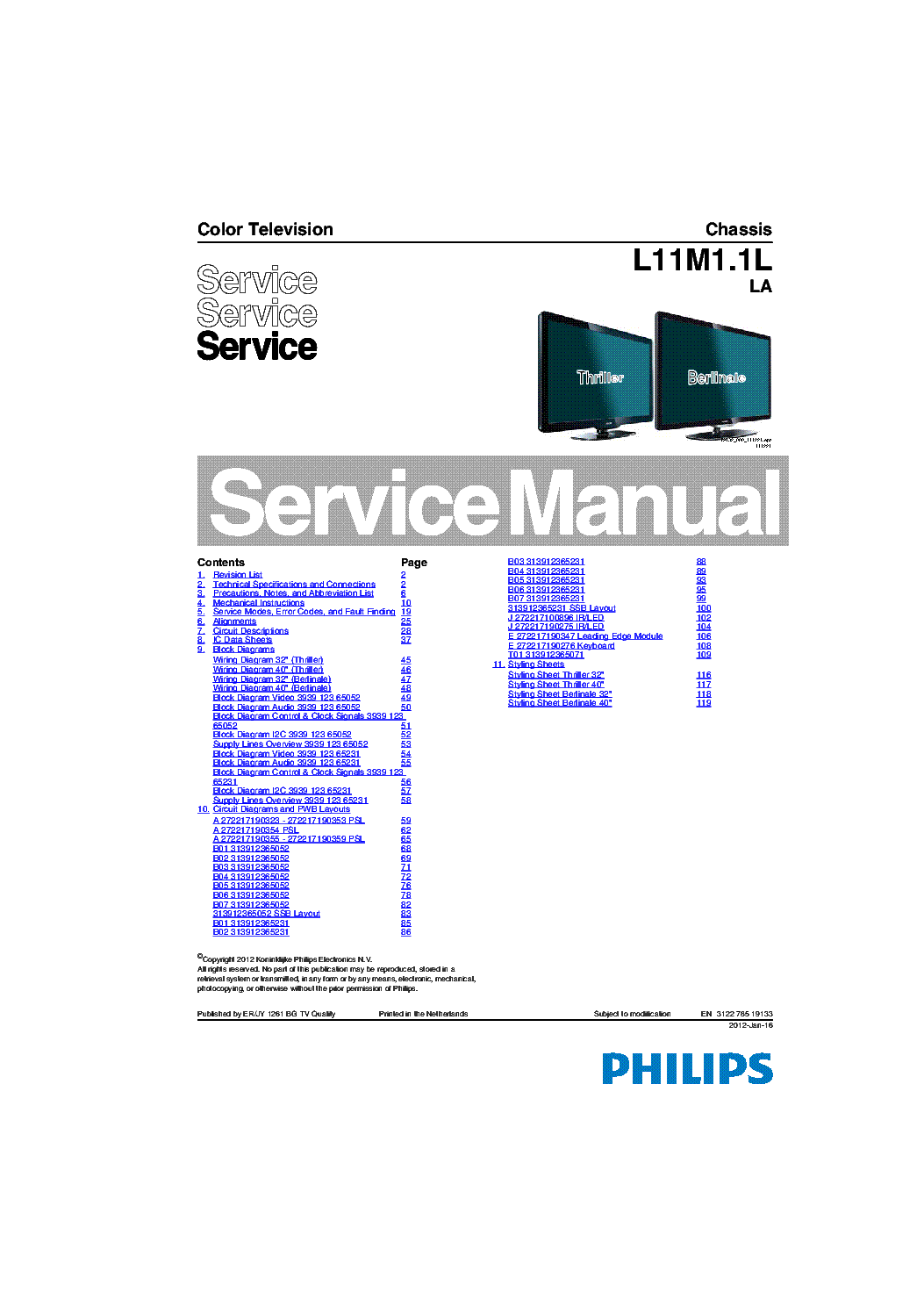 Philips 32pfl3406d 40pfl3406d Chassis L11m1 1lla 312278519133 Service Manual Download