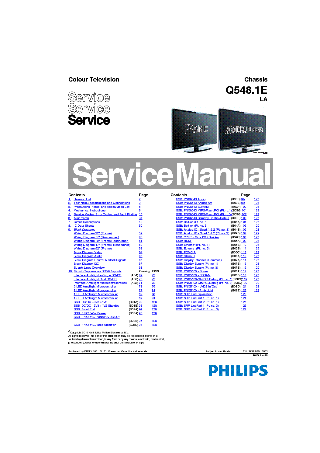 Philips 37pfl8404 Chassis Q548 1e La Sm Service Manual Download  Schematics  Eeprom  Repair Info