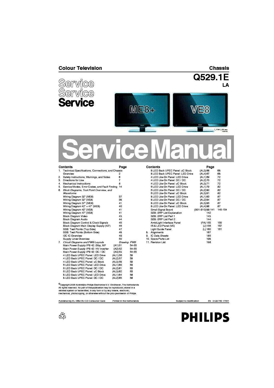 PHILIPS 37PFL9603D CHASSIS Q529.1E-LA SM service manual (1st page)