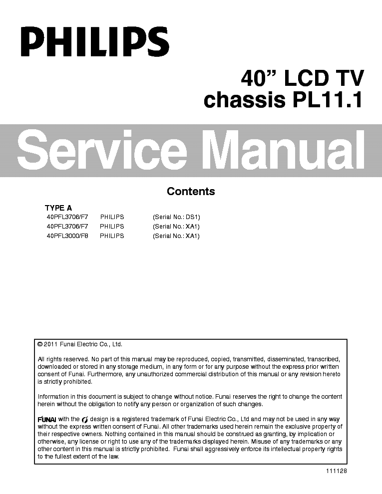 PHILIPS 40PFL3706 40PFL3000 CHASSIS PL11.1 120411 service manual