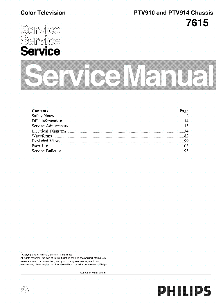 PHILIPS 55P8288 CHASSIS PTV910,914 service manual